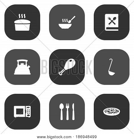 Set Of 9 Cooking Icons Set.Collection Of Scoop, Pepperoni, Loaf And Other Elements.