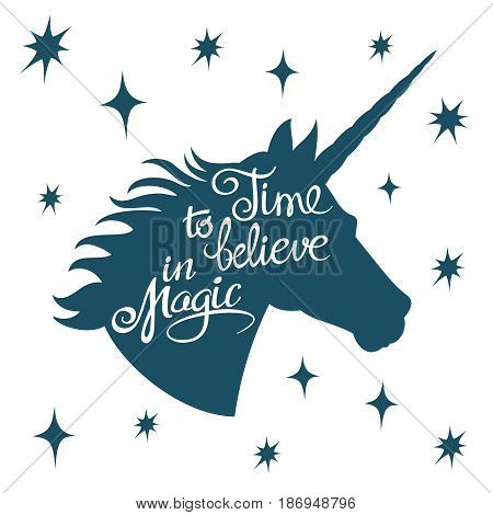 Inspiring unicorn silhouette with positive phrase lettering magic vector concept. Head unicorn silhouette with inspiring text illustration