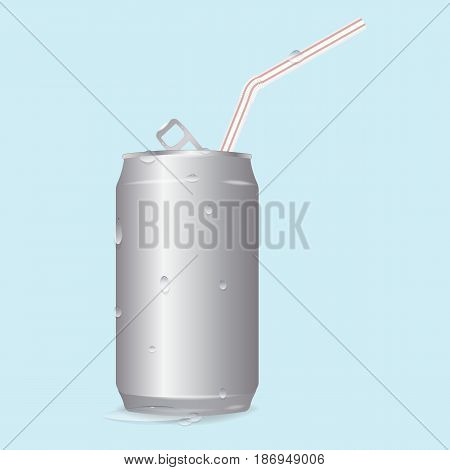 realistic vector blank aluminum soda can and a straw. chilled drink. water droplets from the cold. mockup