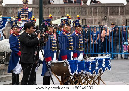 Quito, Ecuador - October 27, 2015: An unidentified people during weekly changing of the guards.
