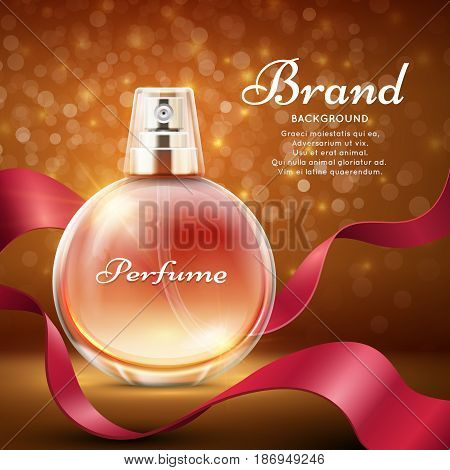 Aroma sweet perfume with red silk ribbon romantic gift vector background. Advertising banner perfume, illustration of bottle perfume