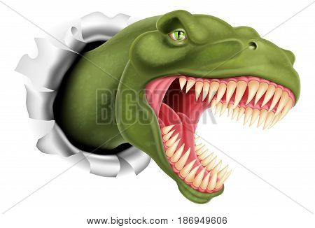 An illustration of a T Rex, Tyrannosaurus Rex dinosaur ripping through a wall