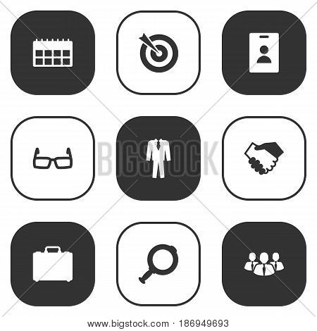 Set Of 9 Enterprise Icons Set.Collection Of Data, Loupe, Goal And Other Elements.