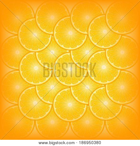 realistic vector abstract background with round orange slices overlapping on each other