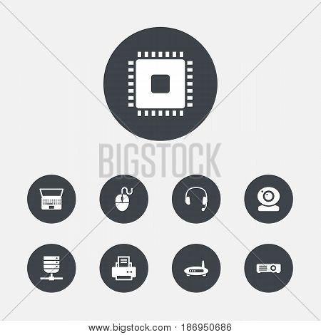 Set Of 9 Notebook Icons Set.Collection Of Peripheral, Control Device, Show And Other Elements.