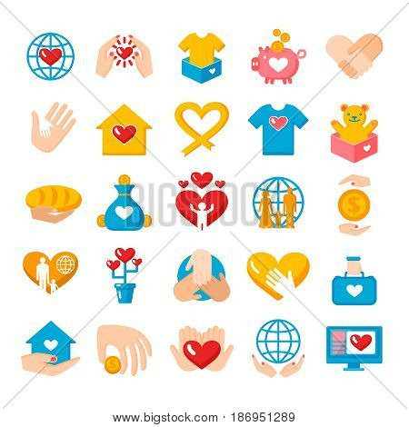 Charity donation big flat icons collection with heart hand palms and earth globe symbols isolated vector illustration
