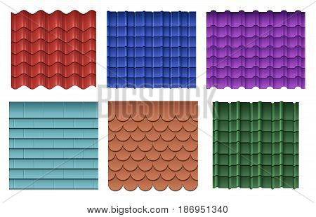 Roof tiles. Roofing materials vector set. Roof construction material, collection of roof component waterproof illustration