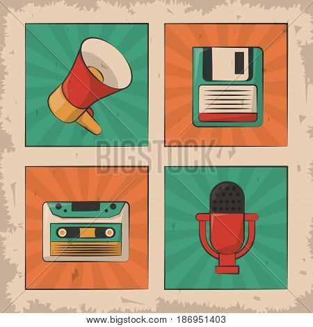 vintage microphone cassette floppy megaphone retro device vector illustration