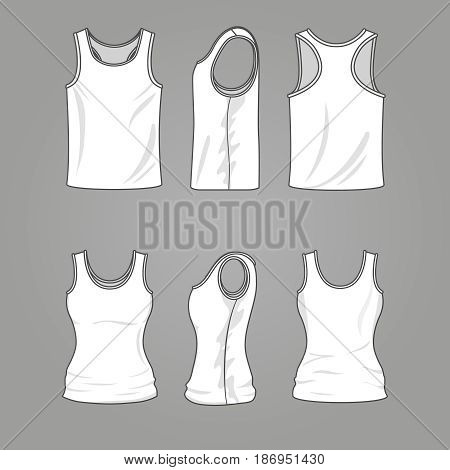 Mans and womans blank outline casual tank top vector. Mockup white shirt clothing, illustration of template fashion shirts