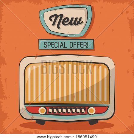 vintage technology radio music special offer retro poster vector illustration