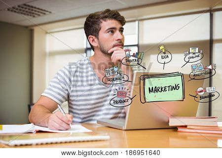 Digital composite of Thoughtful businessman with laptop and marketing graphics in office