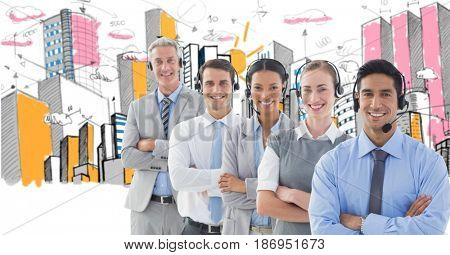 Digital composite of Digital composite image of business people using headphones with buildings in background