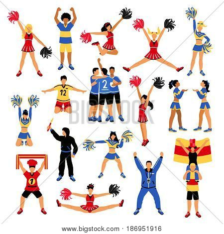 Set of football players, trainer, fans with scarf and flag, girls cheerleaders with pompoms isolated vector illustration
