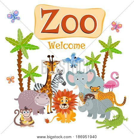Zoo vector illustration with wild cartoon safari animals. Banner welcome zoo, wildlife animal zoo rhinoceros and flamingo
