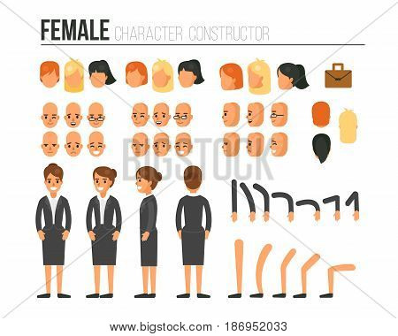 Female character constructor for different poses. Set of various women's faces hairstyles hands legs. Vector illustration.