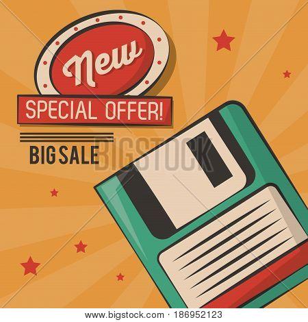 vintage technology floppy big sale card vector illustration