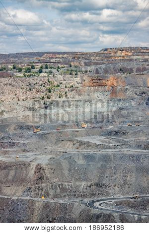 Iron ore opencast mining site on summer day