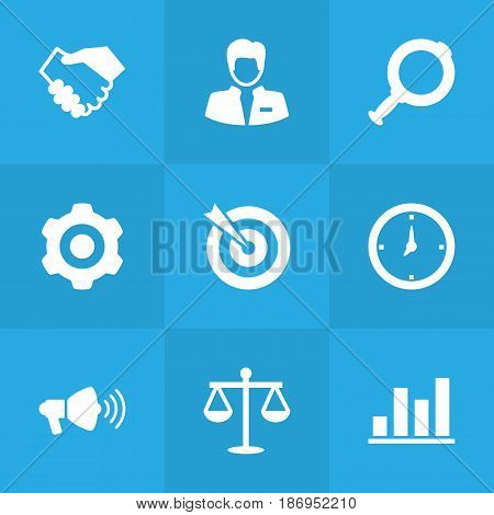 Set Of 9 Business Icons Set.Collection Of Diagram, Loupe, Partnership And Other Elements.