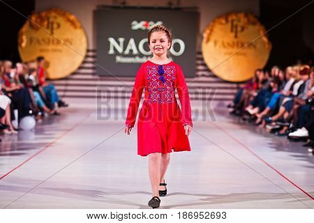 Ternopil, Ukraine - May 12, 2017: Fashion Kids Models Wearing Traditional Clothes Designed By Nacho