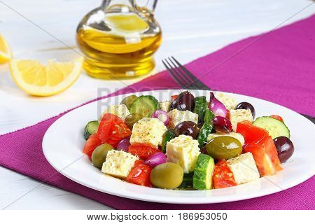 Classic Greek Salad With Feta Cheese