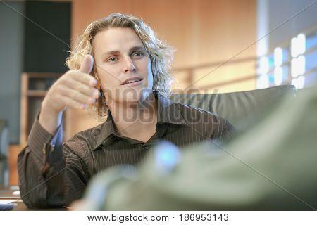 Caucasian businessman talking in meeting