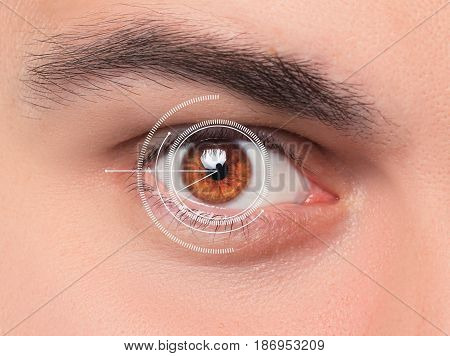 The conceptual image of digital eye or identification of a young man