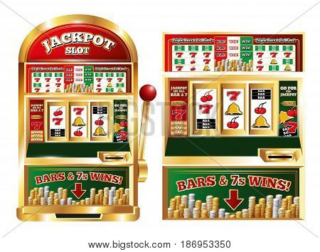 Poker slot jackpot machine isolated front images set with realistic one arm bandit game playing machine vector illustration