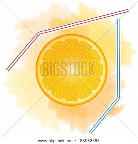orange juice stain. round orange slice. tubes for juice. watercolor. print pattern design t-shirts and more. vector