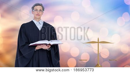 Digital composite of Judge holding book by law scales