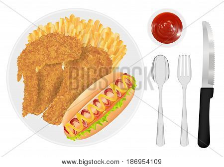 fried chicken french fries and hot dog sausage on a dish