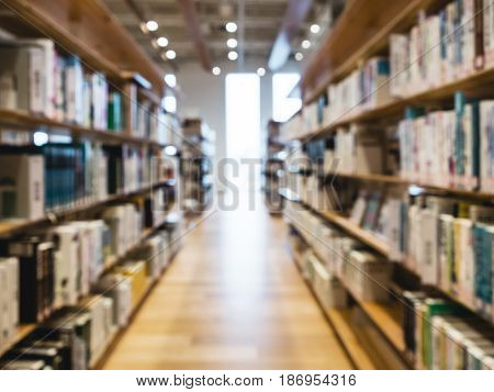 Blurred Library Book shelf Interior Education background