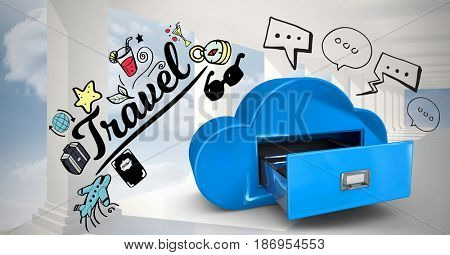 3D ADigital composite of Digital composite image of travel text and various icons by cloud drawer against sky