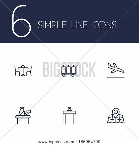 Set Of 6 Airplane Outline Icons Set.Collection Of Cafe, Map, Sit And Other Elements.