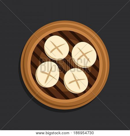 Cartoon vector illustration of chinese steam bread, pork bum sum on a bamboo tray