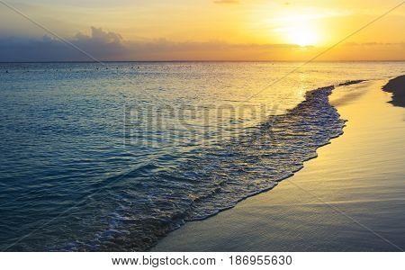 Beautiful sky colorful sunset on the caribean sea.