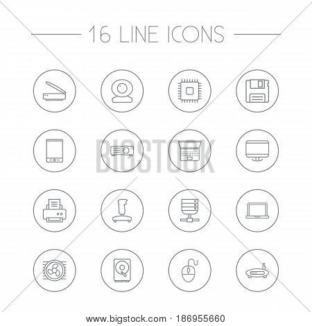 Set Of 16 Computer Outline Icons Set.Collection Of Gamepad, Scanner, Notebook And Other Elements.