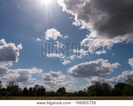 A Clouded Summer Sky Over The Countryside In Uk Essex Afternoon