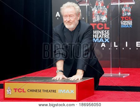 Sir Ridley Scott Hand And Footprint Ceremony held at the TCL Chinese Theatre IMAX in Hollywood, USA on May 17, 2017.