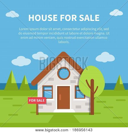 House for sale banner with text place. Vector illustration.