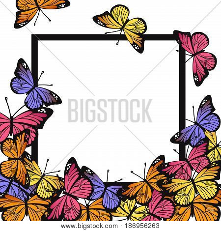 Greeting card with hand drawn butterflies and black simple frame on white background. Vector illustration for Happy Birthday, Mother's day, wedding or Hello Summer design