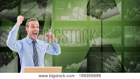 Digital composite of Digital composite image of happy businessman with tech graphics in background