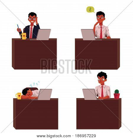 Black, African American businessman sitting at office desk, working on laptop, talking by phone, napping, cartoon vector illustration isolated on white background. Black, African businessman at office
