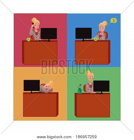 Young and beautiful businesswoman sitting at office desk, working on laptop, talking by phone, having nap, cartoon vector illustration. Blond businesswoman at office desk