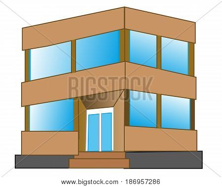 Building with two floors on white background