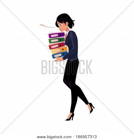 Young pretty businesswoman, woman, girl carrying pile of document folders, cartoon vector illustration isolated on white background. Businesswoman with folders of documents, heavy workload concept
