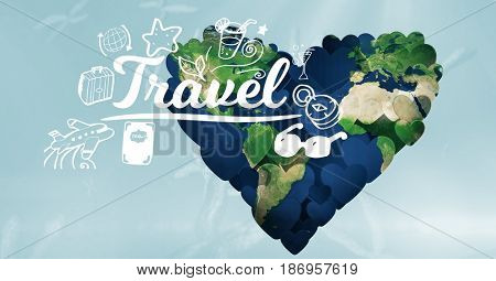 Digital composite of 3d world in heart shape with travel text in foreground