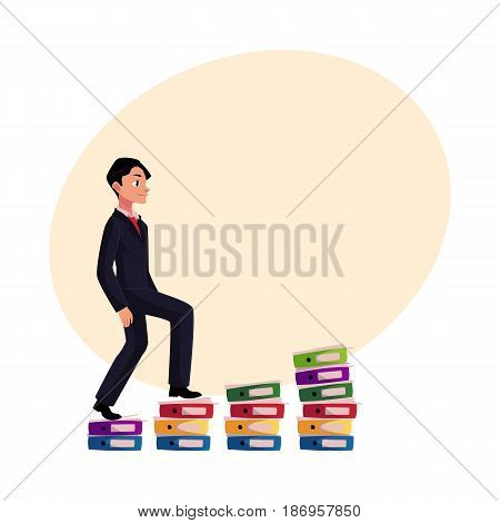 Young businessman climbing piles of documents, career ladder concept, cartoon vector illustration with space for text. Document folders like corporate ladder, businessman making career