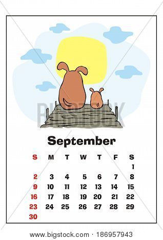 Wall calendar for September,  2018 with funny dogs. Fun children's illustration in cartoon style. Colorful vector background. Vertical orientation. Week starts Sunday.