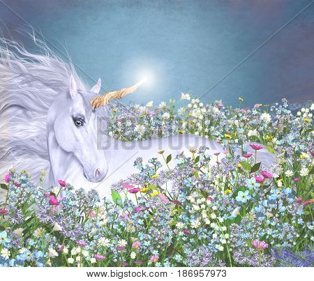 3d illustration of a magical unicorn in a sea of flowers.
