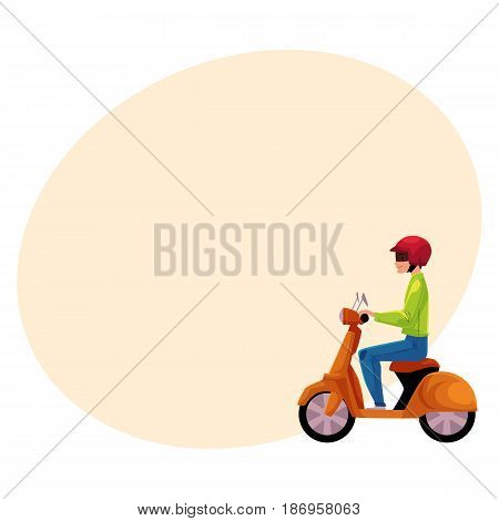 Scooter, moped, motor bicycle rider wearing helmet, side vew, personal transport concept, cartoon vector illustration with space for text. Man riding scooter, delivery service